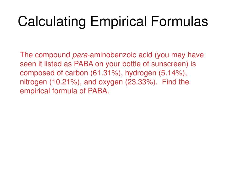 Calculating Empirical Formulas