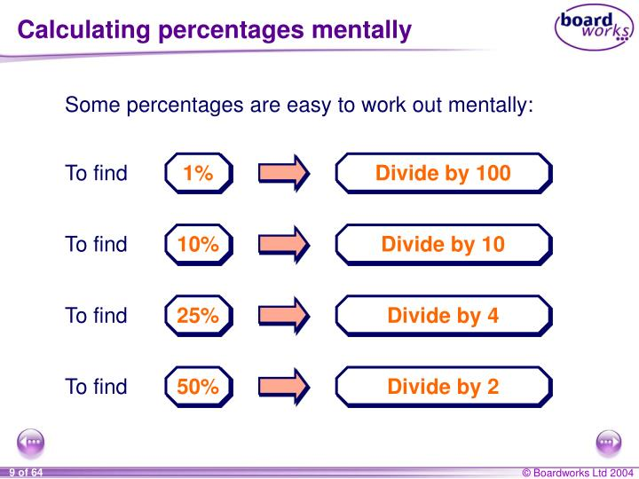 Calculating percentages mentally