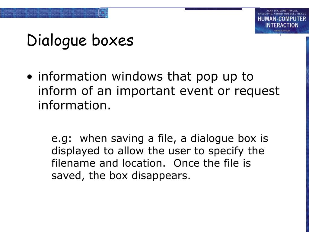 Dialogue boxes