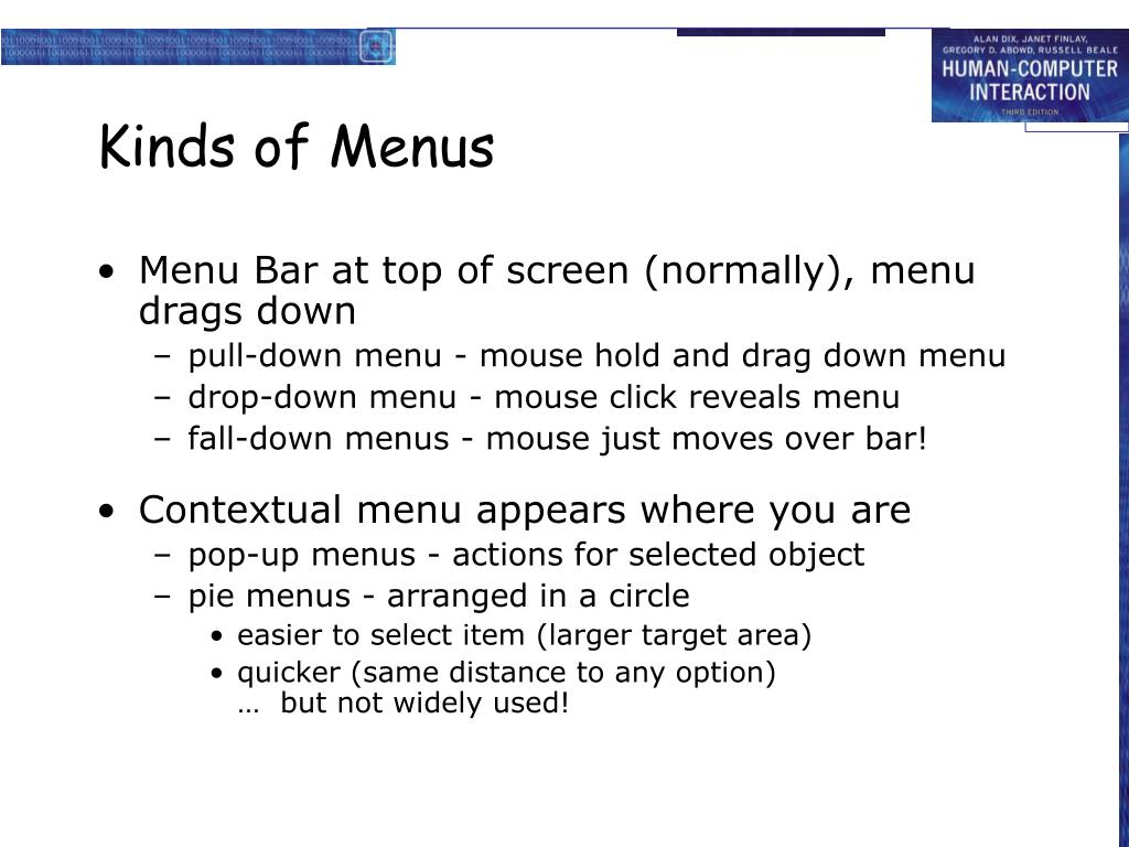 Kinds of Menus