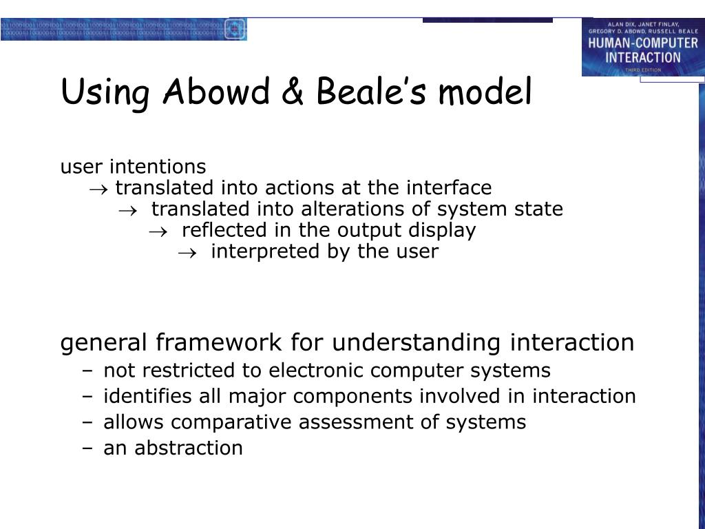 Using Abowd & Beale's model