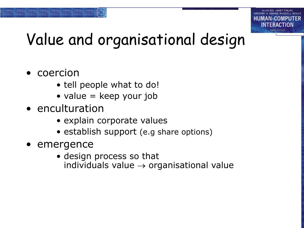 Value and organisational design