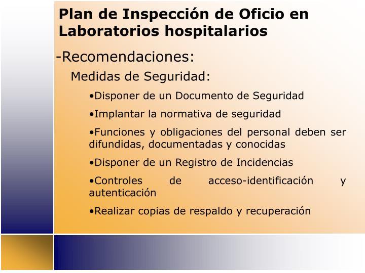 Plan de Inspección de Oficio en Laboratorios hospitalarios