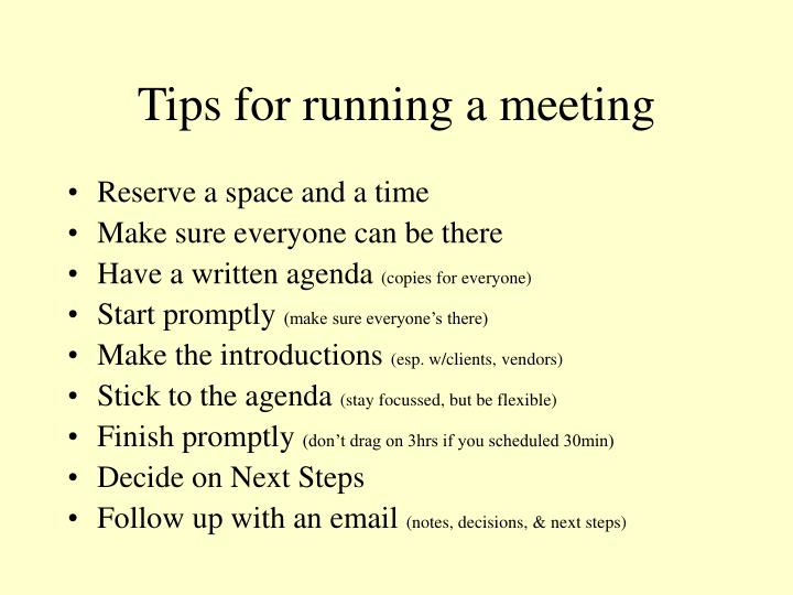 Tips for running a meeting
