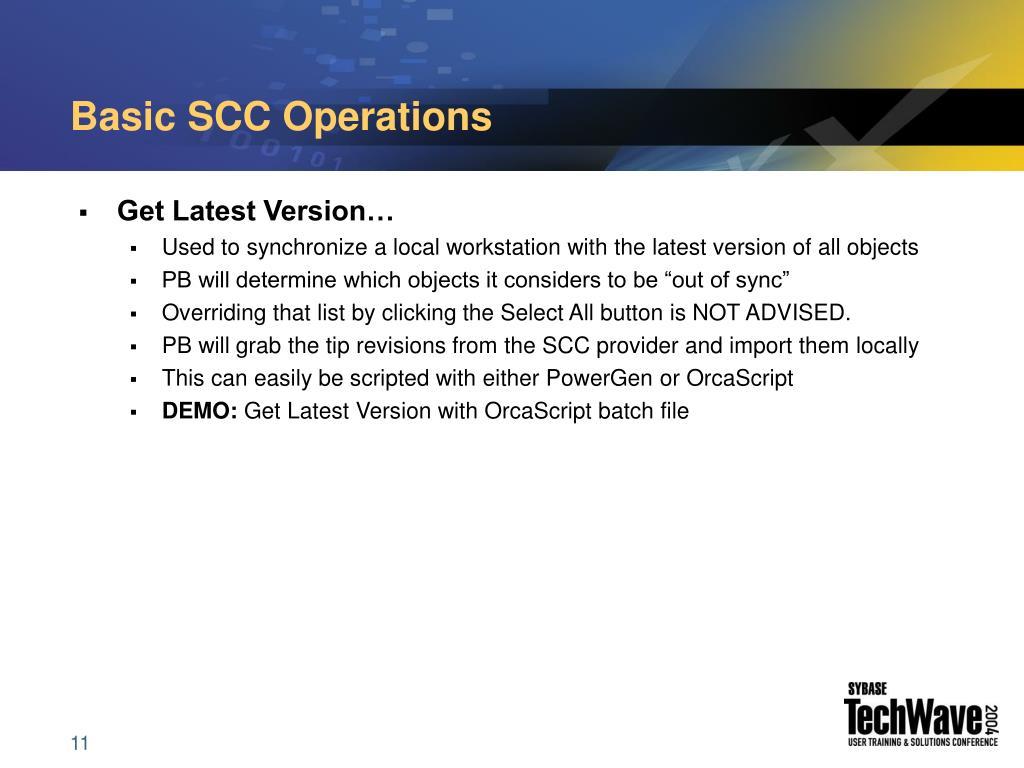 Basic SCC Operations