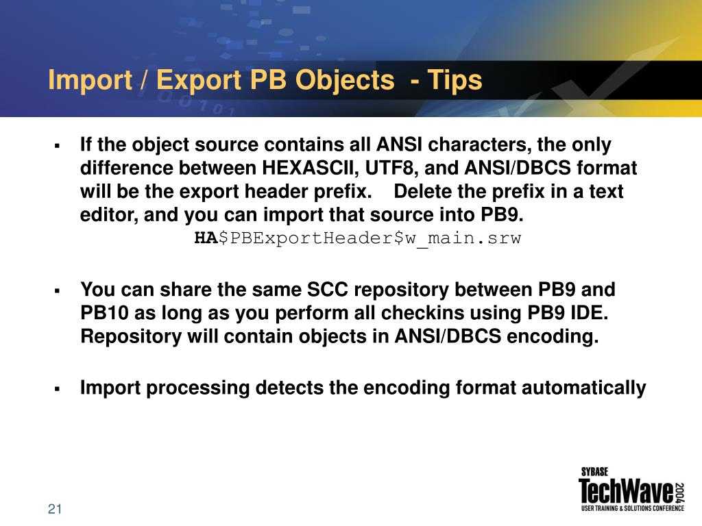 Import / Export PB Objects  - Tips