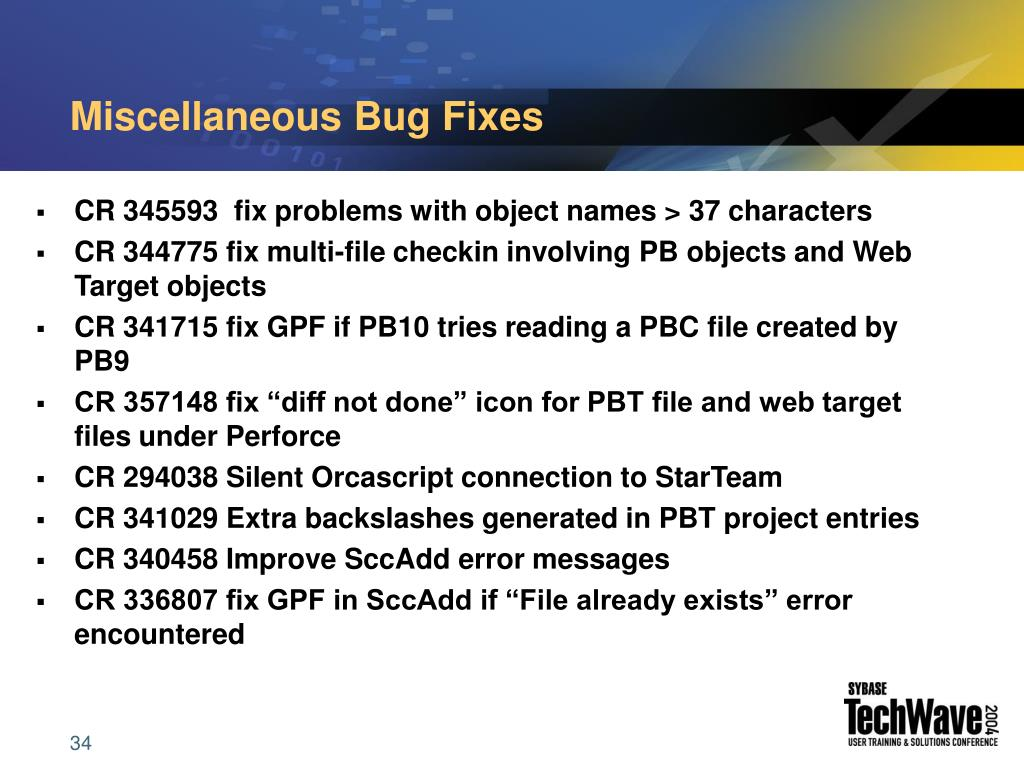 Miscellaneous Bug Fixes