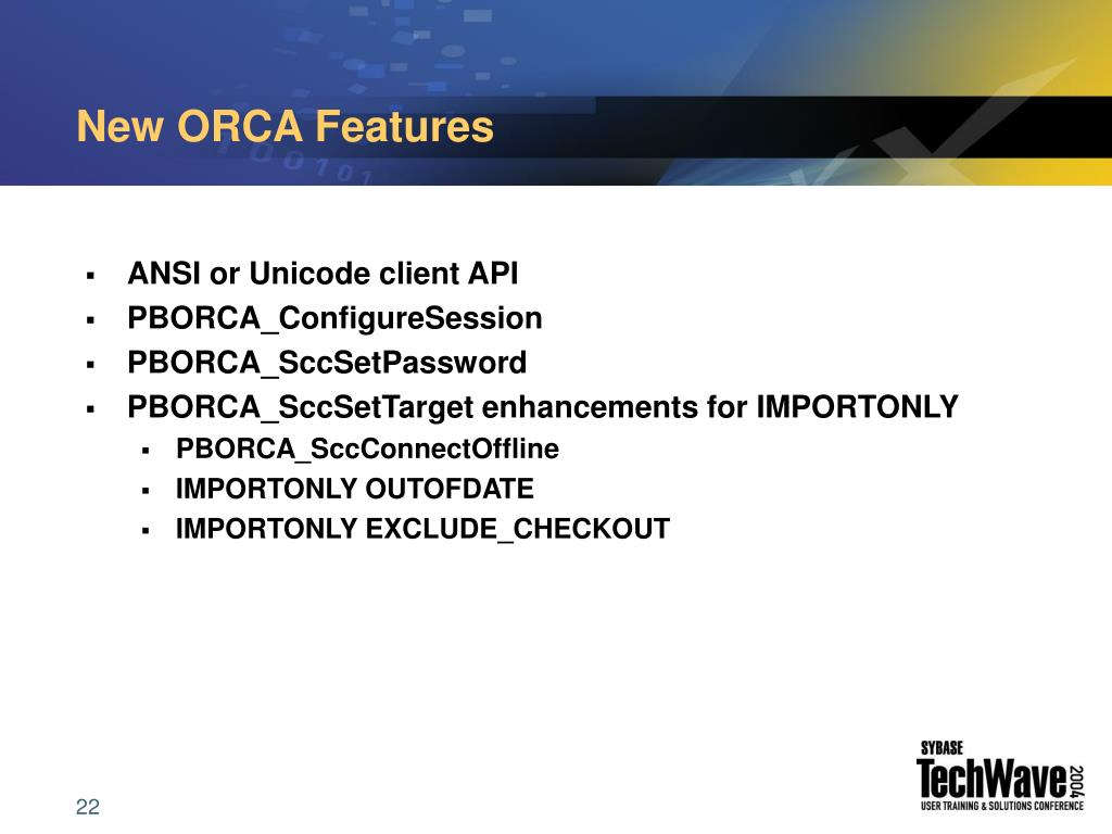 New ORCA Features