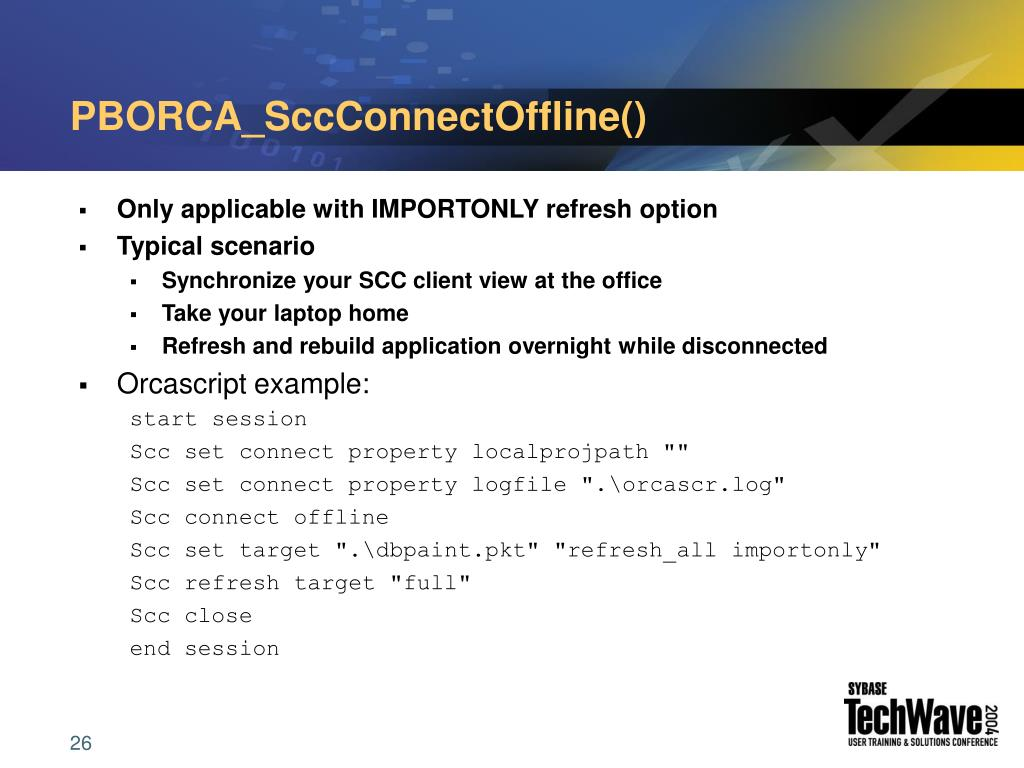 PBORCA_SccConnectOffline()