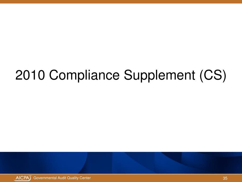 2010 Compliance Supplement (CS)