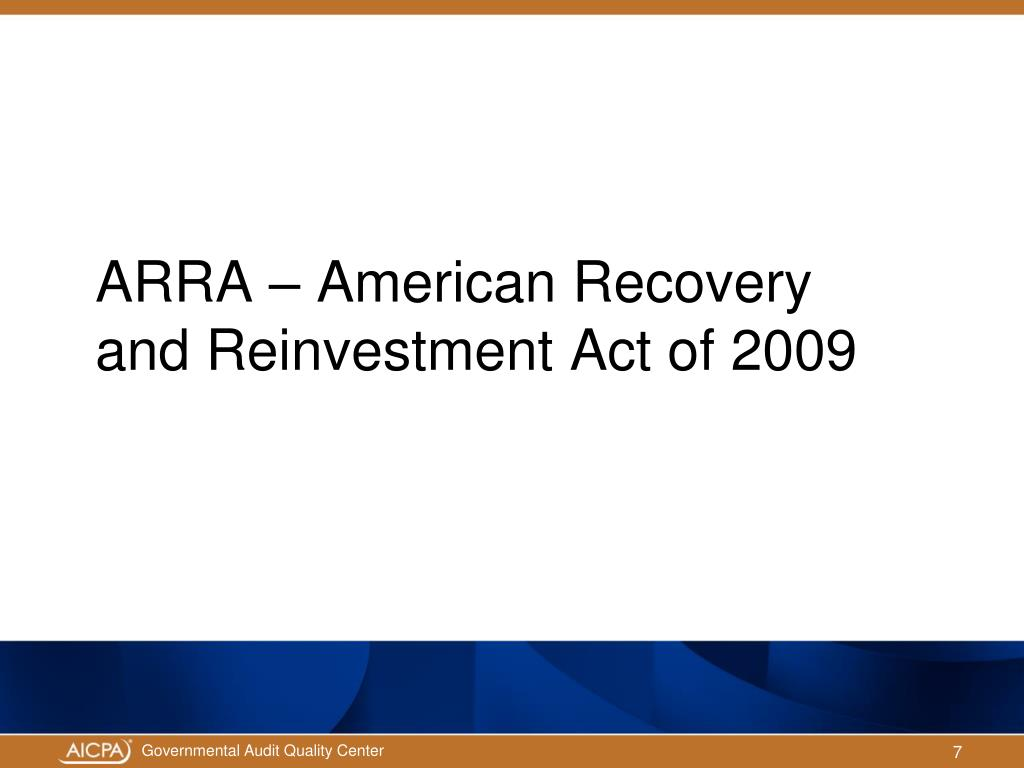 ARRA – American Recovery and Reinvestment Act of 2009