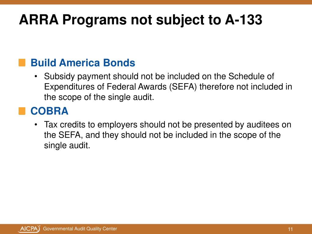 ARRA Programs not subject to A-133