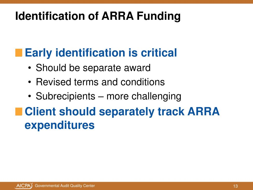 Identification of ARRA Funding