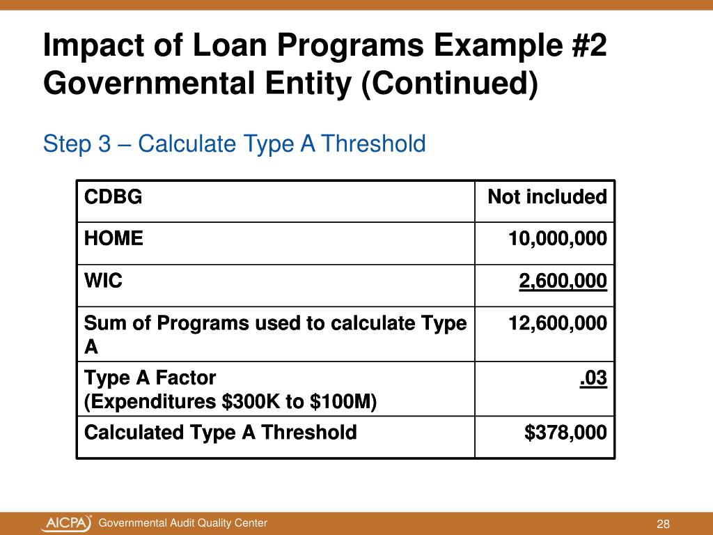 Impact of Loan Programs Example #2 Governmental Entity (Continued)