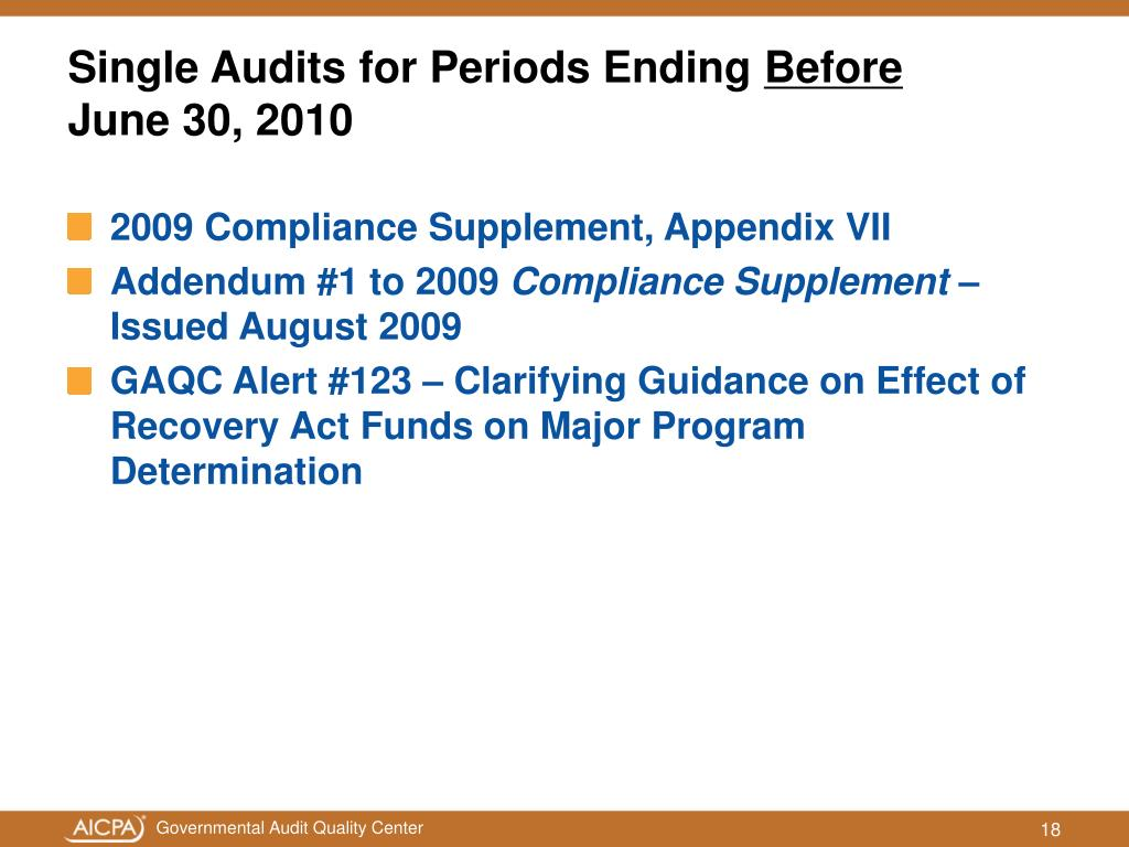 Single Audits for Periods Ending