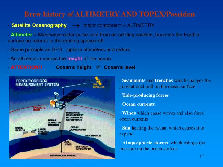 Brew history of ALTIMETRY AND TOPEX/Poseidon
