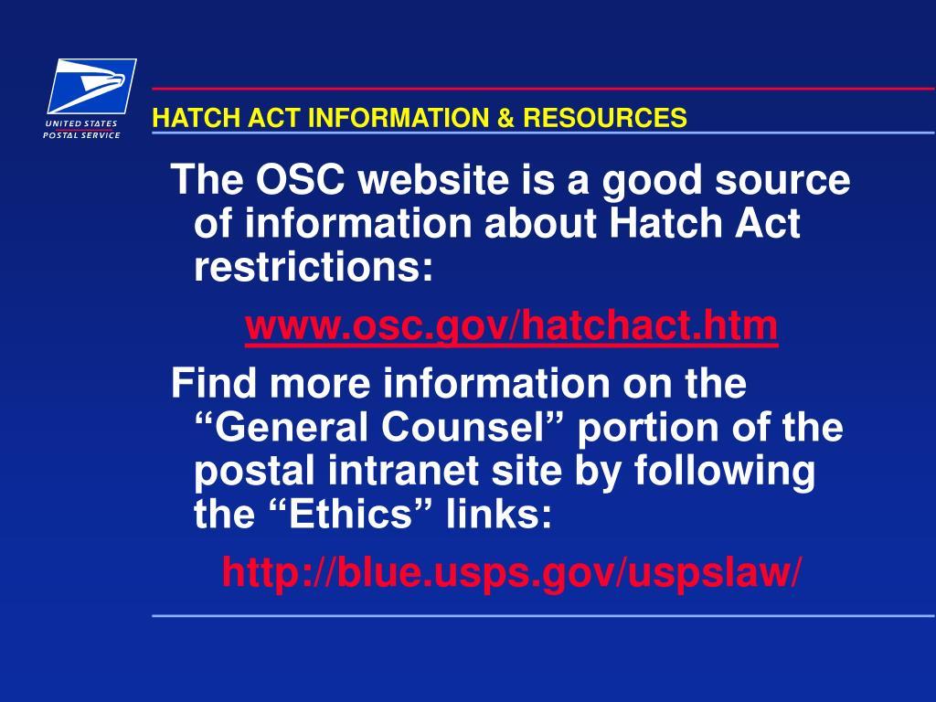 HATCH ACT INFORMATION & RESOURCES