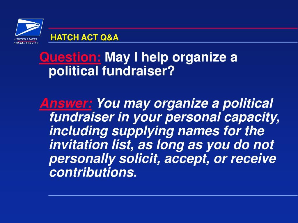 HATCH ACT Q&A