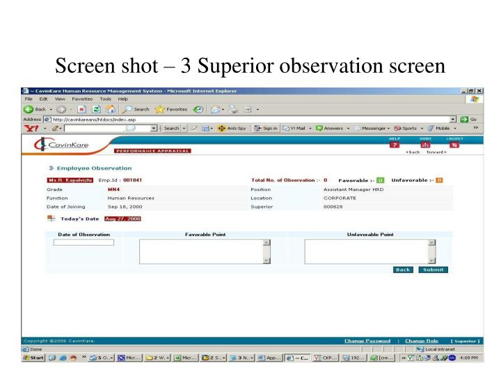 Screen shot – 3 Superior observation screen