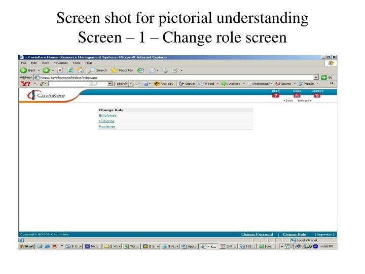 Screen shot for pictorial understanding