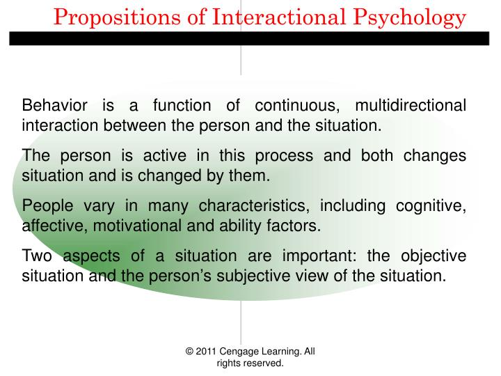 Propositions of Interactional Psychology