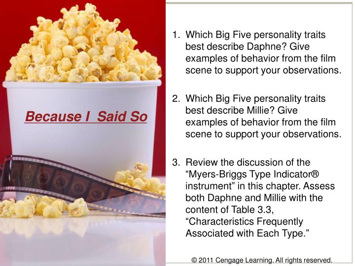 Which Big Five personality traits best describe Daphne? Give examples of behavior from the film scene to support your observations.