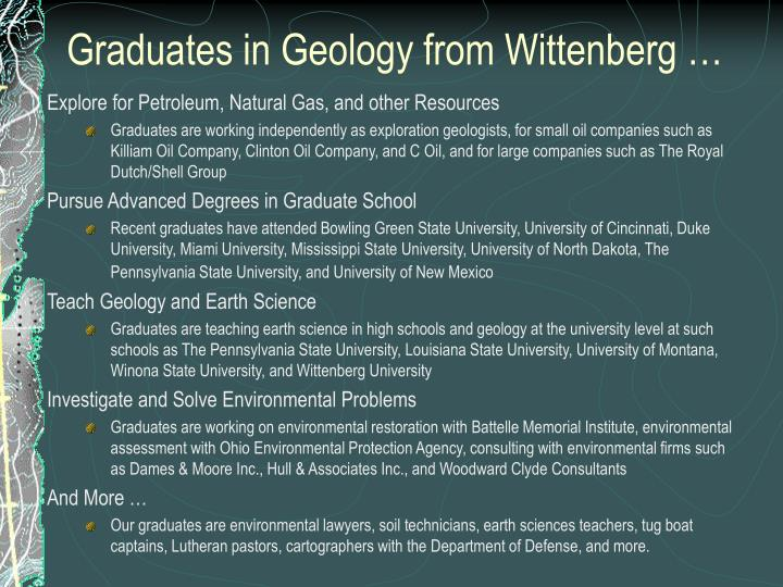 Graduates in Geology from Wittenberg …