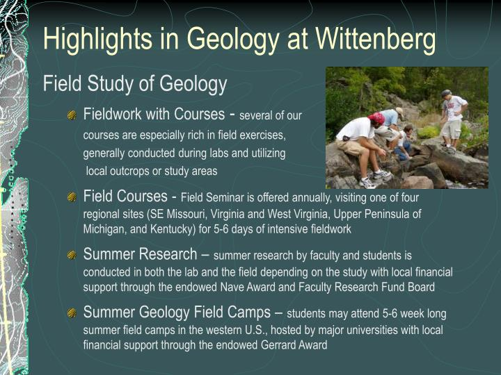 Highlights in Geology at Wittenberg