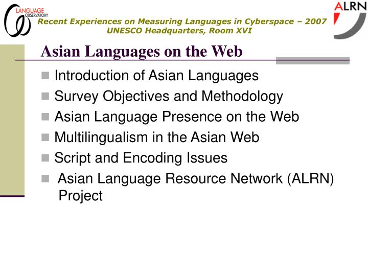 Asian languages on the web