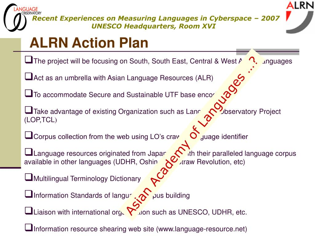 ALRN Action Plan