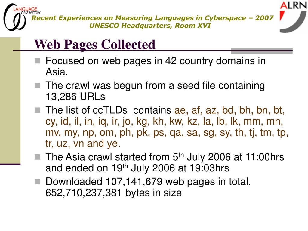 Web Pages Collected