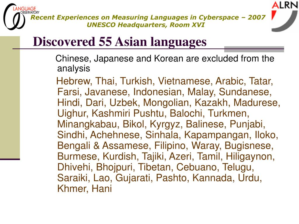 Discovered 55 Asian languages