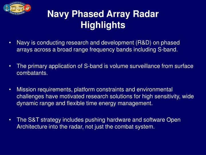 Navy phased array radar highlights
