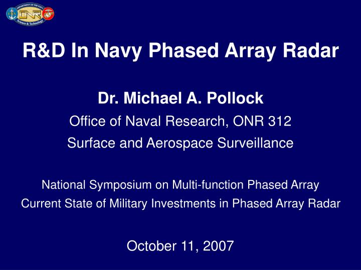 R&D In Navy Phased Array Radar