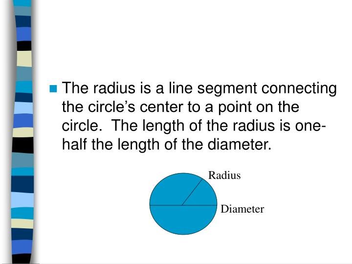 The radius is a line segment connecting the circle's center to a point on the circle.  The length of the radius is one-half the length of the diameter.