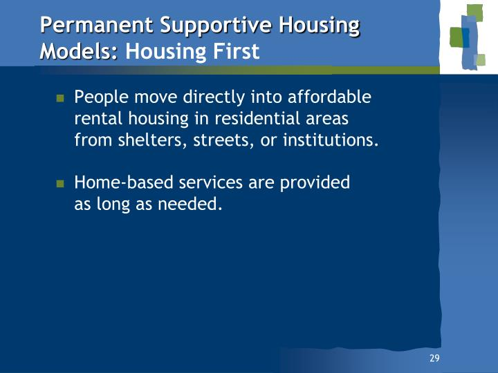 Permanent Supportive Housing Models: