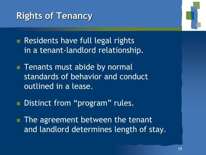 Rights of Tenancy