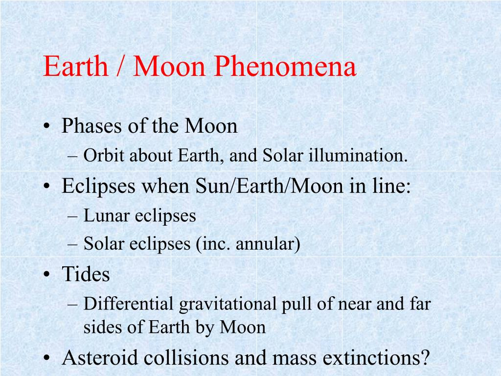 Earth / Moon Phenomena