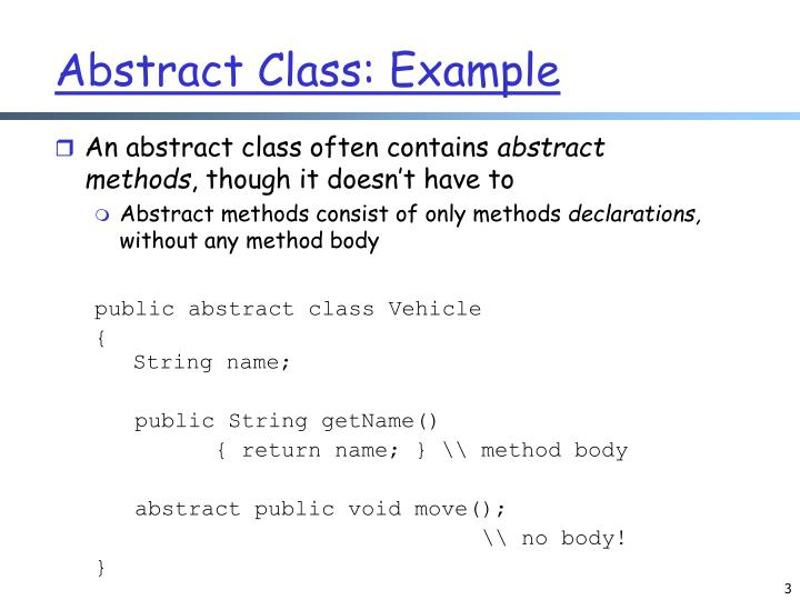Abstract Class: Example
