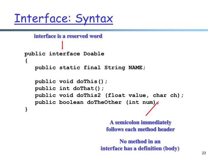 interface is a reserved word