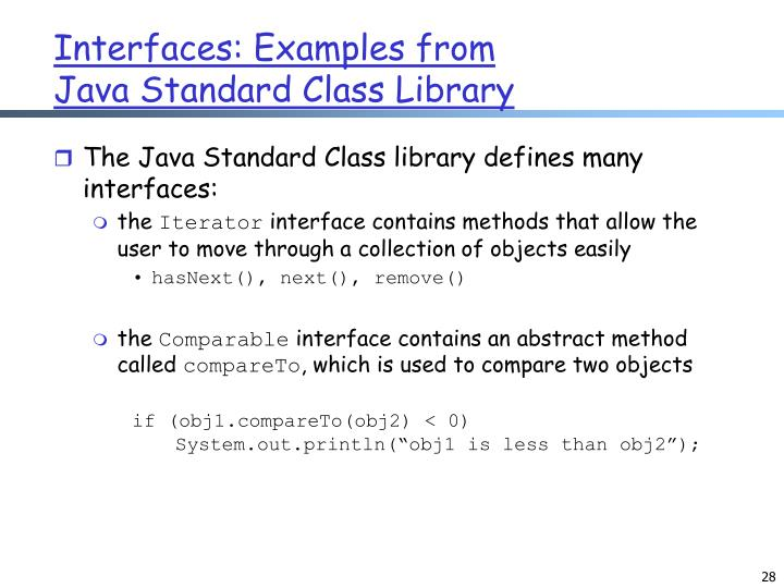 Interfaces: Examples from