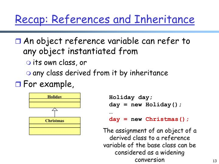 Recap: References and Inheritance