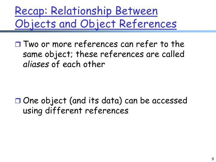 Recap: Relationship Between Objects and Object References