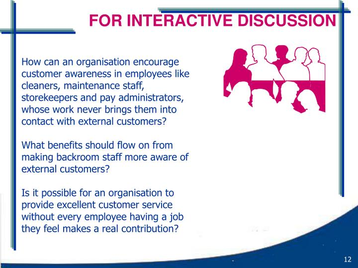 FOR INTERACTIVE DISCUSSION