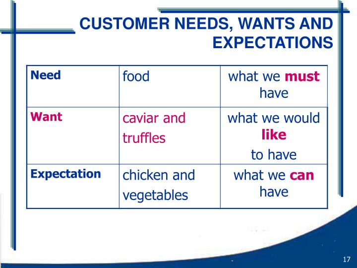 CUSTOMER NEEDS, WANTS AND EXPECTATIONS