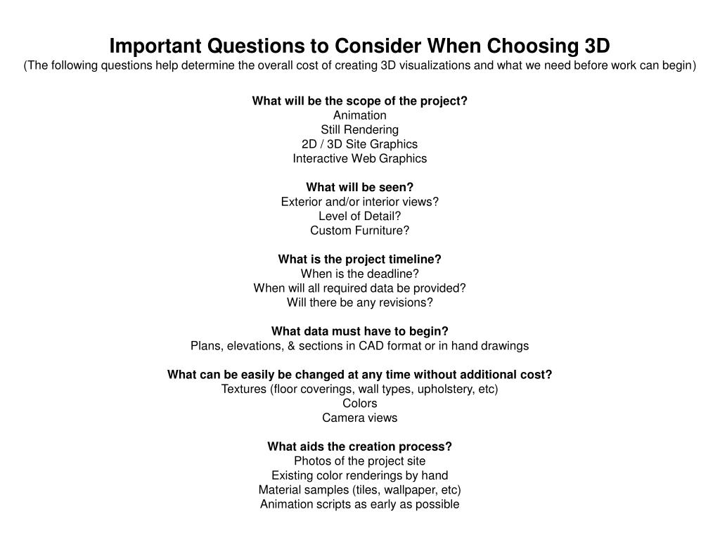 Important Questions to Consider When Choosing 3D