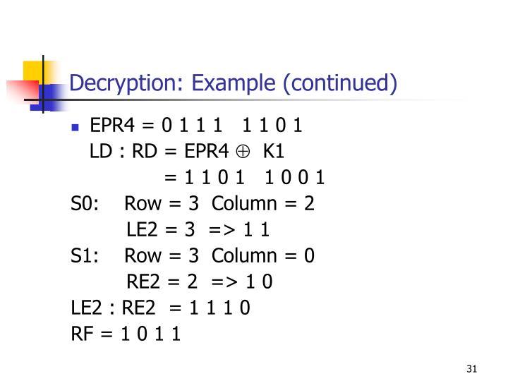 Decryption: Example (continued)