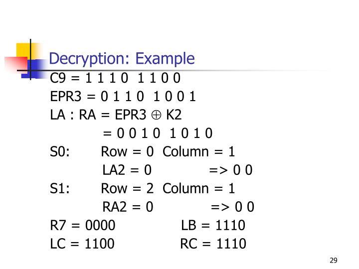 Decryption: Example
