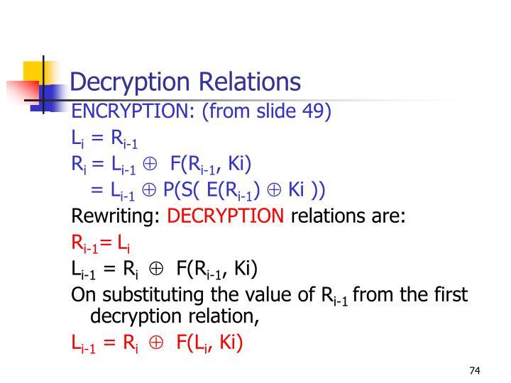 Decryption Relations