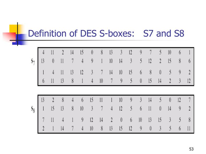 Definition of DES S-boxes:   S7 and S8